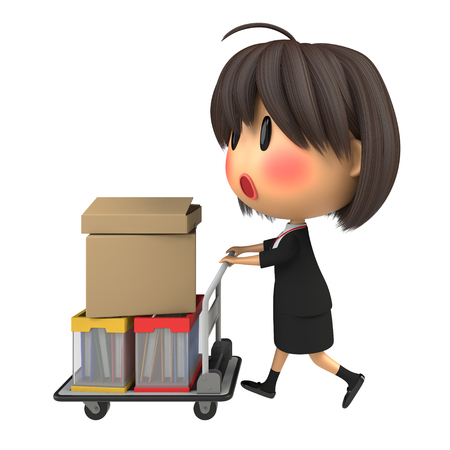 blushing: Blushing female staff carrying luggage by hand truck Stock Photo