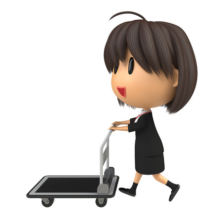 hand truck: Female staff carrying hand truck