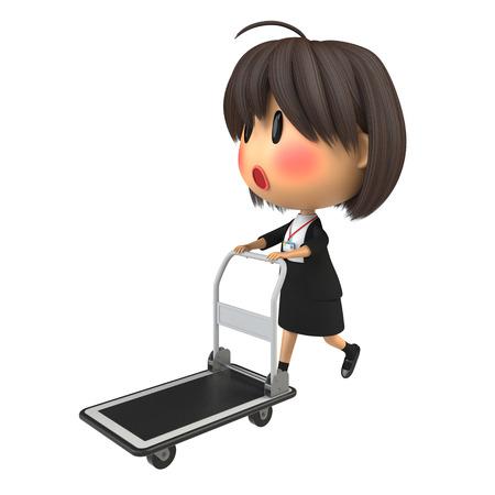 blushing: Blushing female staff carrying hand truck