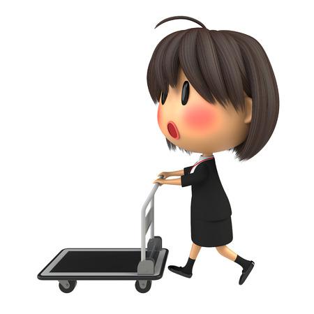 hand truck: Blushing female staff carrying hand truck