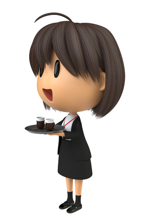 serve one person: Female staff for serving the coffee