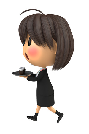 serve one person: Female staff to blush to serving the coffee Stock Photo