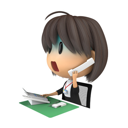 life extension: Female staff that pallor to speak on the phone Stock Photo
