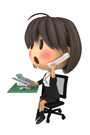 clerical: Female staff to blush to speak on the phone