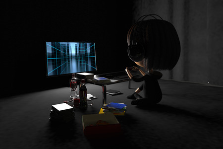 Back figure of a person playing game in dark room