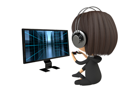 Back figure of a person playing a game