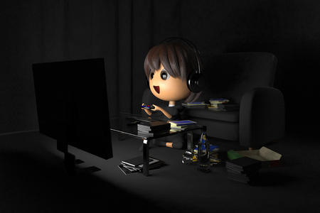 lethargy: Person playing a game in a dark room Stock Photo