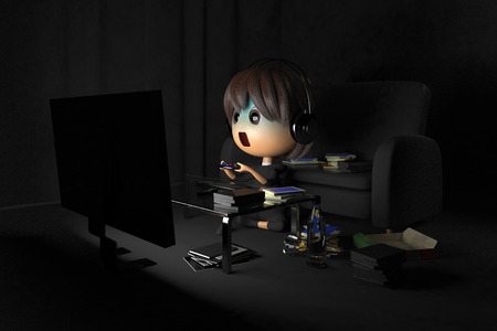 asher: Person who is pale playing a game in dark room Stock Photo