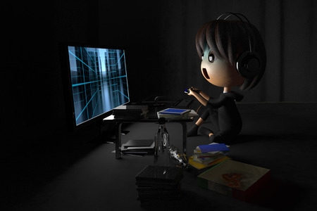 lethargy: Person who is pale playing a game in dark room Stock Photo