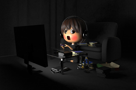 lethargy: Person who is blush playing a game in dark room