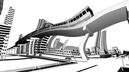 landscape architecture: Distorting view of Cityscape Stock Photo