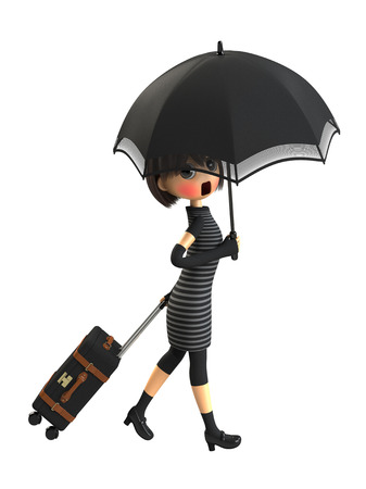 embarrassing: Woman carrying a bag with parasols Stock Photo