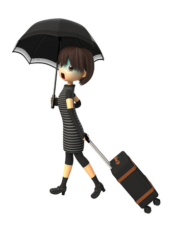 asher: Woman carrying a bag with parasols Stock Photo