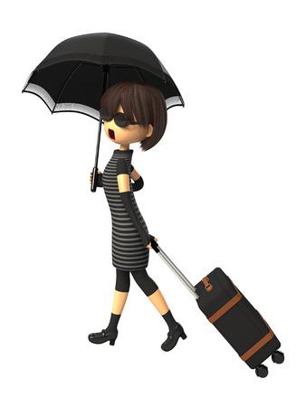 Woman carrying a bag with parasols Фото со стока