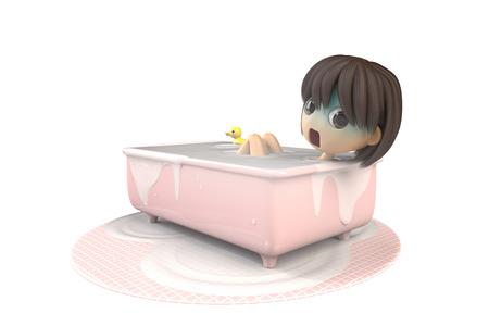 asher: Women are bathing while pale Stock Photo