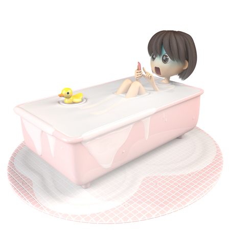 asher: Women who use a smartphone while taking a bath Stock Photo