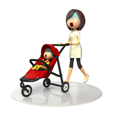 asher: Mother walking with baby buggy