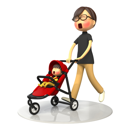 embarrassing: Father walking with baby buggy Stock Photo