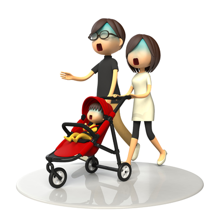 asher: Parents walking with baby buggy Stock Photo