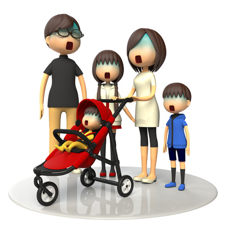 asher: Family and baby buggy Stock Photo