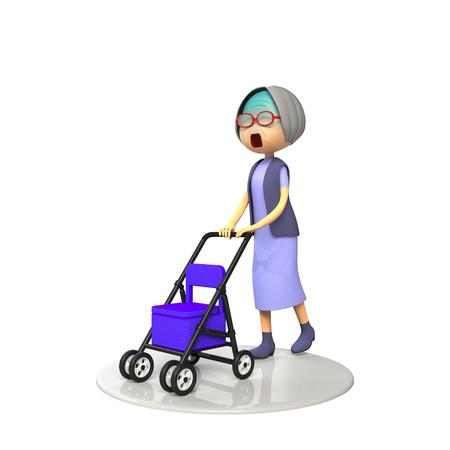 asher: Old lady walking down the senior cart