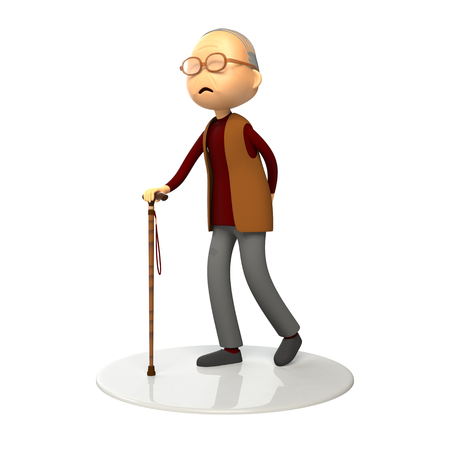 old man walking: Old man walking with a cane
