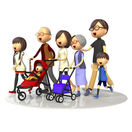 three generations: Three generations of family walking together Stock Photo
