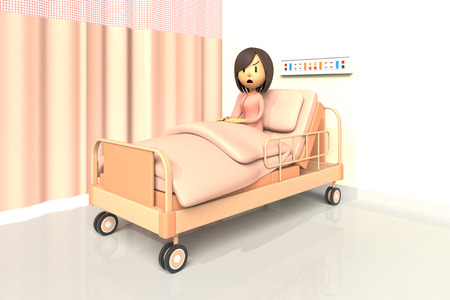 worry tension: 3D illustration of woman in the hospital