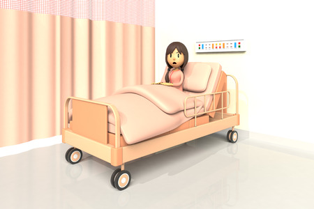 dissatisfaction: 3D illustration of girl in the hospital