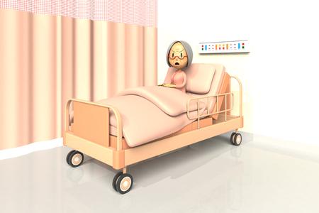 bad mood: 3D illustration of elderly womanl in the hospital Stock Photo