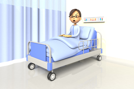 bad mood: 3D illustration of man in the hospital Stock Photo