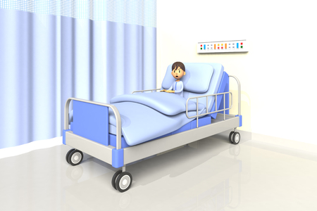 dissatisfaction: 3D illustration of boy in the hospital Stock Photo