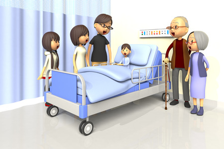 pediatrics: 3D illustration of Family to visit the boy in the hospital Stock Photo