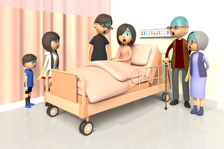 asher: 3D illustration of Family to visit the woman in the hospital