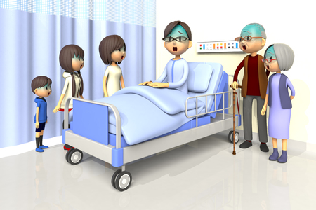worry tension: 3D illustration of Family to visit the man in the hospital Stock Photo