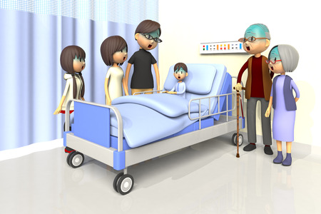 worry tension: 3D illustration of Family to visit the boy in the hospital Stock Photo