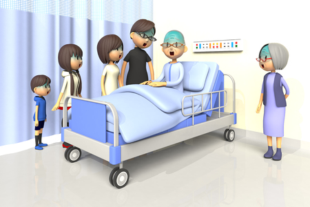 asher: 3D illustration of Family to visit the old man in the hospital