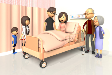 bad mood: 3D illustration of Family to visit the woman in the hospital