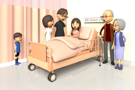 worry tension: 3D illustration of Family to visit the girl in the hospital
