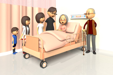 worry tension: 3D illustration of Family to visit the old woman in the hospital