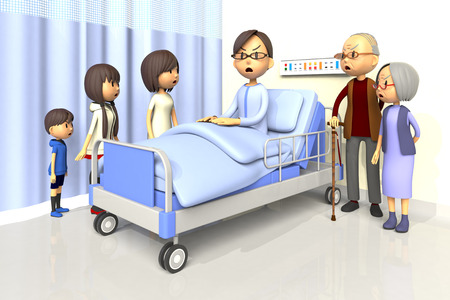 bad mood: 3D illustration of Family to visit the man in the hospital Stock Photo