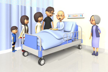 bad mood: 3D illustration of Family to visit the old man in the hospital