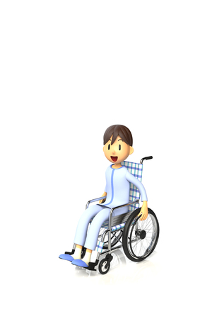 Boy on a wheelchair. This is a rendered image of the 3D-CG.