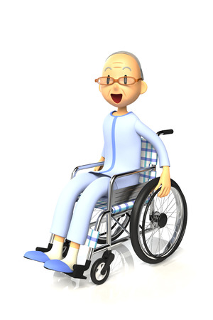inconvenience: Elderly patient on a wheelchair. This is a rendered image of the 3D-CG.