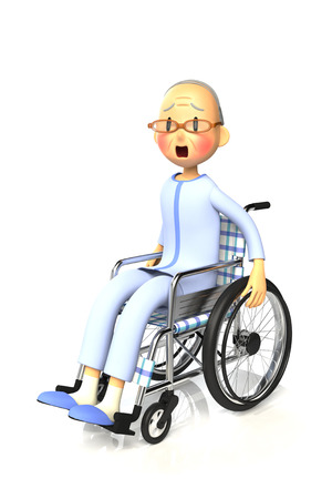 surprisingly: 3D illustration of Elderly man who are using a wheelchair Stock Photo