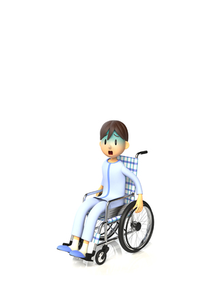 asher: 3D illustration of Boy who are using a wheelchair