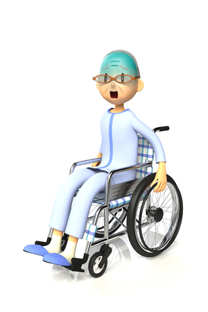 worry tension: 3D illustration of Elderly man who are using a wheelchair Stock Photo