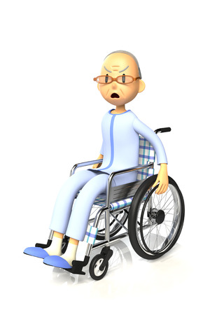 inconvenience: 3D illustration of Elderly man who are using a wheelchair Stock Photo