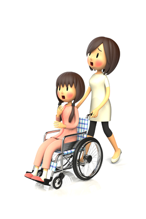 surprisingly: 3D illustration of Girl get by pushing the wheelchair to her mother