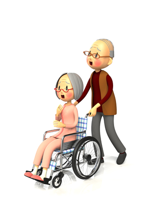 worry tension: 3D illustration of Elderly woman get by pushing the wheelchair to her husband